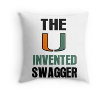 The U Invented Swagger Miami Canes Throw Pillow