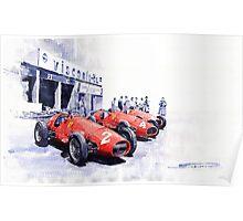 Team Ferrari 500 F2 1953 German GP Poster