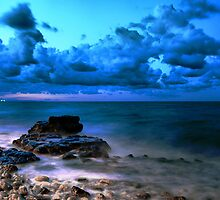 Blue cloudy seascape  by Francesco Malpensi