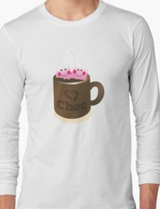 Hot Chocolate with seriously cutie Kawaii marshamallows Long Sleeve T-Shirt