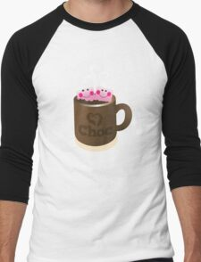 Hot Chocolate with seriously cutie Kawaii marshamallows Men's Baseball ¾ T-Shirt