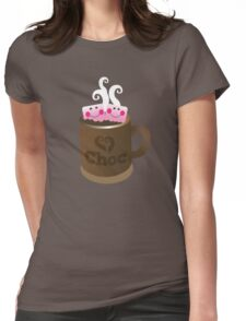 Hot Chocolate with seriously cutie Kawaii marshamallows Womens Fitted T-Shirt