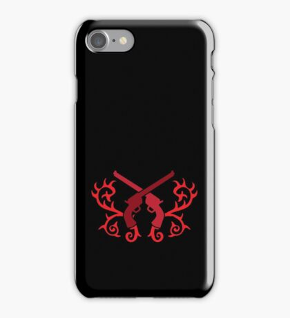 Red pistol guns with thorns iPhone Case/Skin