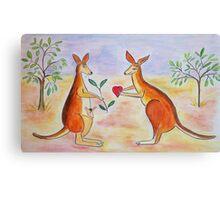 Adorable Kangaroos in love Canvas Print