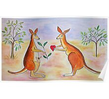 Adorable Kangaroos in love Poster