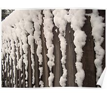 Snow on a fence Poster