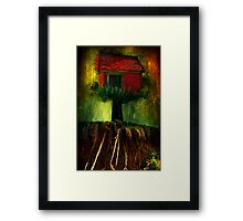 Red House In A Tree Framed Print