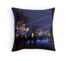 Snowy Blue High Street (Canterbury in the Snow 2010) Throw Pillow
