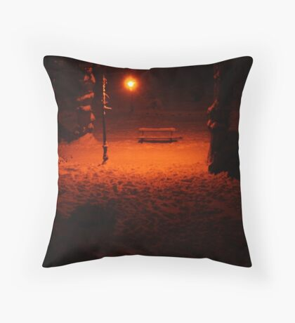 A Lonely Bench (Canterbury in the Snow 2010) Throw Pillow
