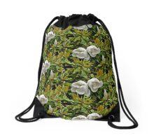 White magnolia Drawstring Bag