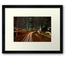 Connaught Road at Night. Framed Print