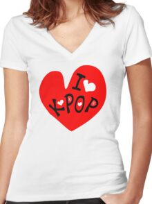 I love k-pop txt heart vector graphic line art Women's Fitted V-Neck T-Shirt