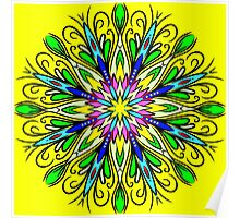 Simetric Colorful Ethnic Mandala Flower - Zentangle Poster