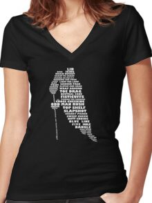 Hockey Player Terminology Calligram Women's Fitted V-Neck T-Shirt