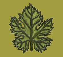 Green Leather Grape Leaf - Leaves, Vineyard, Wine, Dionysus, Bacchus, Grapevine by ImogenSmid