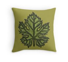 Green Leather Grape Leaf - Leaves, Vineyard, Wine, Dionysus, Bacchus, Grapevine Throw Pillow