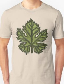 Green Leather Grape Leaf - Leaves, Vineyard, Wine, Dionysus, Bacchus, Grapevine T-Shirt