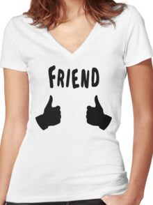 The Inbetweeners - Friend - Thumbs Up Women's Fitted V-Neck T-Shirt