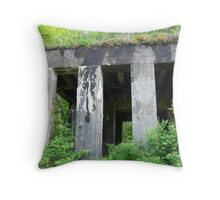 Old Rail Road Building Throw Pillow