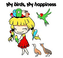 My birds my happiness cute cartoon Photographic Print