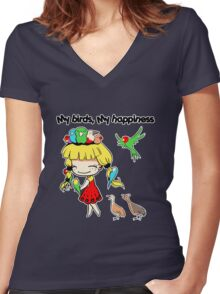 My birds my happiness cute cartoon Women's Fitted V-Neck T-Shirt