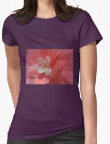 Begonia in Soft Shades of Red Womens Fitted T-Shirt
