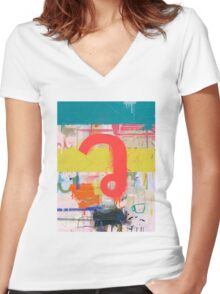 "Thai Characters ""ว"" Women's Fitted V-Neck T-Shirt"