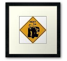 Gorilla road sign Framed Print