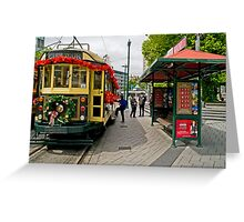 Christmas Tram - Christchurch New Zealand Greeting Card