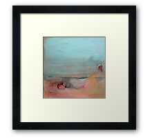 mint green and peach landscape Framed Print