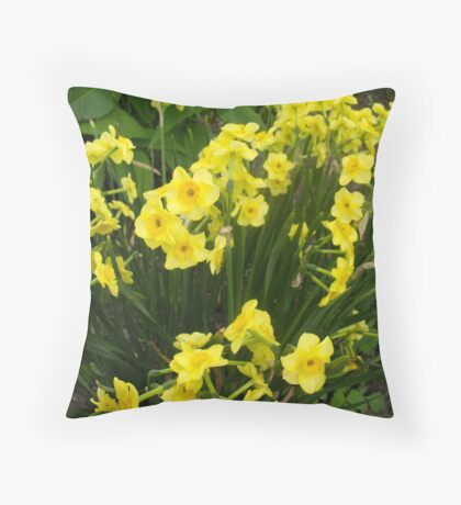 Daffodils in the green Throw Pillow
