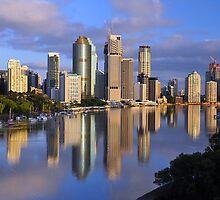 Brisbane River and City at dawn. Queensland, Australia. by Ralph de Zilva
