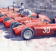 Team Lancia Ferrari D50 type C 1956 Italian GP by Yuriy Shevchuk
