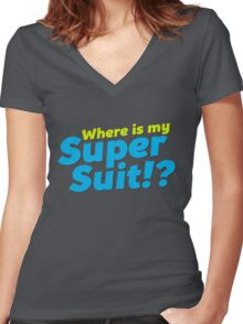 Where is my Super Suit!? Women's Fitted V-Neck T-Shirt