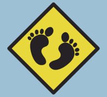 cute warning sign of feet Baby Tee