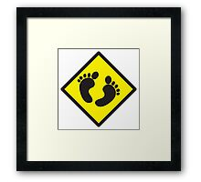 cute warning sign of feet Framed Print