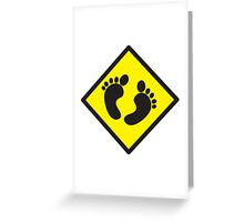 cute warning sign of feet Greeting Card