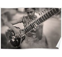 Girl Playing Sitar Poster