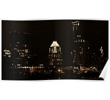 Austin Texas - Downtown - Late Night View Poster