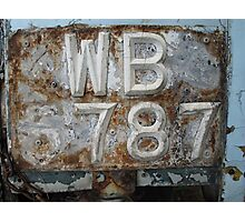 Missing 6!- Old number plate Photographic Print
