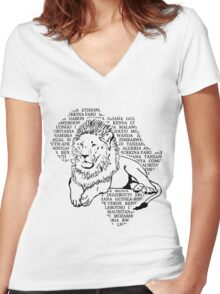 Lion - Africa Map Women's Fitted V-Neck T-Shirt