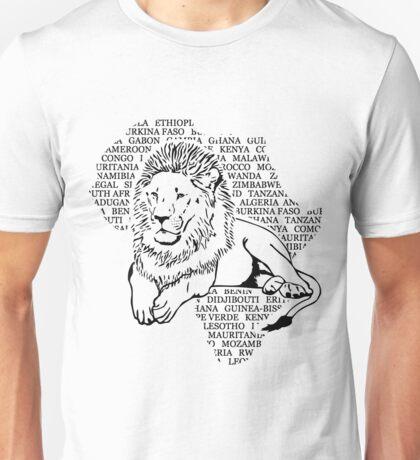 Lion - Africa Map Unisex T-Shirt