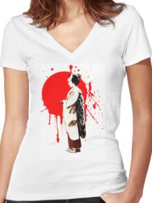Japanese Geisha Kyoto Japan Women's Fitted V-Neck T-Shirt