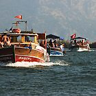 River boat flotilla, Dalyan River by Christopher Cullen