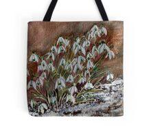 Snowdrops in the snow. Tote Bag