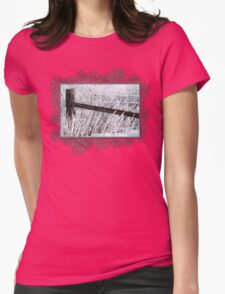 Hoar Frost on the Fence Womens Fitted T-Shirt