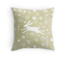 Hare in the Meadow Throw Pillow