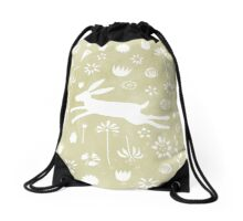 Hare in the Meadow Drawstring Bag