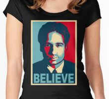 FOX MULDER BELIEVE Women's Fitted Scoop T-Shirt
