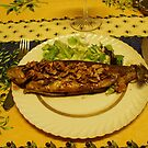 Durbuy - Rainbow Trouts with grilled almonds. by Gilberte